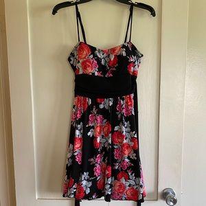 Floral Black Mini Dress with Waist Tie